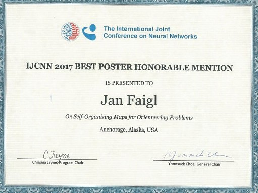 IJCNN 2017 best poster honorable mention to Faigl